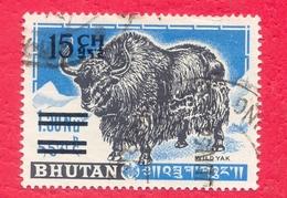 BHUTAN 1965 15 Ch Surcharge Overprint On  1.30 Nu Wild Yak Of 1962 1st Set Used - Bhutan