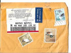 Hong Kong Registered Airmail $13 Northern Shoveler, $3 Red-wiskered Bulbul, 10c Postal History Cover Sent To Pakistan. - Canards