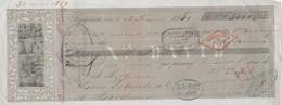 Lettre Change (2) Illustrée 16/2/1851 Xavier DAVID LEZIGNAN Aude Pour Lalande Vins Bordeaux Gironde - Lettres De Change