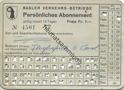 Schweiz - Basel - Basler Verkehrs-Betriebe - Persönliches Abonnement - Billet Fr. 7.- Rückseitig Abonnements-Bedingungen - Bahn