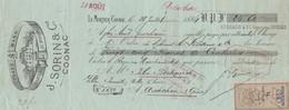 Lettre Change Illustrée Timbre Fiscal 28/7/1884 J SORIN LE MORTIER COGNAC Charente Pour Félix Bertrand Arcachon Gironde - Lettres De Change