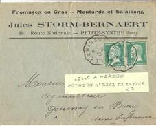 CONVOYEUR LILLE A HIRSON TàD 19-7-25 POTHION N° 2343 T3 RETOUR - En-tête :  FROMAGES EN GROS ... PETITE-SYNTHE (NORD) - Marcophilie (Lettres)
