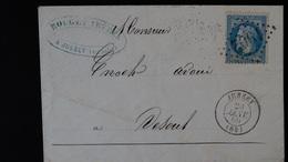 France - Enveloppe - GC 1902 Sur 20c Bleu Napoléon III Lauré - Année 1869 - Marcophilie (Lettres)
