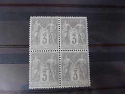 Bloc De 4 Du N°87,tache De Rouille Sur Un Timbre Verso - 1876-1898 Sage (Type II)