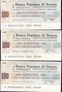 #A1857. Banca Popolare Di Novara 1976-77. 3 100 Lire Notes. 2 Used And Slightly Folded, 1 Unused. - Italie