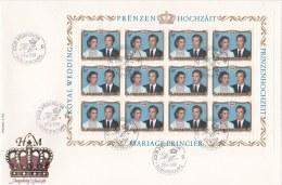 Liechtenstein FDC 1981 Royal Marriage Sheet Of 12 (LAR3-B21)