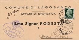 6190 Lc.  Piego Lagosanto Ferrara Podestà Ariano Polesine Rovigo 1940 - Marcophilie