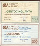 #A1859. Banca Credito Varesino 1977. 150 Lire Note Unused + 200 Lire Note Used. - Italy