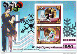 DPR Korea 1980 Sc. 1981a Olimpiadi Lake Placid Vincitori Medaglie Oro Pattinaggio Rodnina Zaitsev Linitschnuk Kar - Pattinaggio Artistico