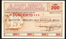 #A1861. La Banca Credito Agrario Bresciano 1976. 200 Lire Note Unused. - Italy