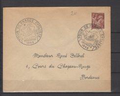 Etape Du Tour De France - Oblitérations Sur Lettre  -  Lourdes -  08 / 07 / 1948 - 1921-1960: Moderne
