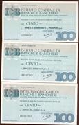 #A1863. Institutio Centrale Di Banche E Banchieri 1977. 3 100 Lire Notes Unused. - Italy