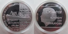 "Aruba 25 Florin 1994 ""Oil For Peace - End Of World War II"" UNC Silver PROOF KM# 11 - Monnaies"