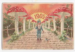 Bonne Année  1905 - Nain Et Champignons  - Illustré - Carte Ajourée Pour Un Effet Lumineux - - Nouvel An