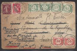 Lettre De France Taxée 2 Fois Pour La Belgique Et Ensuite Nancy Bel Affranchissement - Postage Due Covers