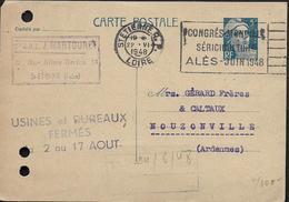 ST ETIENNE Loire Oblitération Mécanique ST ETIENNE R.P. CONGRES MONDIAL SERICULTURE ALES JUIN 1948  . ..G - 1921-1960: Moderne