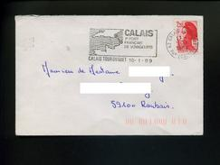 Marcophilie,Liberté Gandon 2.20 Obliteré Flamme Geographie  La Manche,Calais Tour Du Guet 10.1.1989 - Geographie