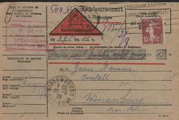 CARTE REMBOURSEMENT 15c Semeuse Au Départ De STRASBOURG Pour WISSEMBOURG Alsace  1929 . ..G - Marcophilie (Lettres)