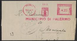 KA16    EMA, Red Meter 1942  Municipio Di Palermo - Affrancature Meccaniche Rosse (EMA)