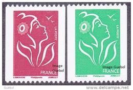 France Roulette N° 3742,A ** Et 3743 A - Marianne De Lamouche - TVP Rouge Et Vert. Légende Philaposte - Rollen