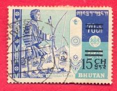 BHUTAN 1965 / 196715 Ch Surcharge Overprint On  70 Ch Archer Of 1962 1st Set Used B - Bhutan