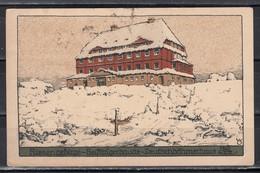 """Dt.Reich 1923 Steindruckkarte """"Riesengebirge:Reifträgerbaude-Deutschböhmerhaus"""" Gelaufen - Schlesien"""