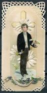 Souvenir  De Première Communion - (année 1910) (dentelle, Collage, Tissu) - Devotieprenten