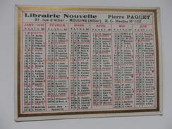 Calendrier 1939 Librairie Nouvelle Pierre Paquet Moulins (Allier ) - Petit Format : 1921-40