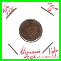 GERMANY  -   MONEDA  DE  1- REICHSPFENNIG  AÑO 1931.G  Bronze - 1 Rentenpfennig & 1 Reichspfennig