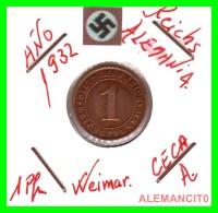 GERMANY  -   MONEDA  DE  1- REICHSPFENNIG  AÑO 1932 A   Bronze - 1 Rentenpfennig & 1 Reichspfennig