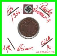 GERMANY  -   MONEDA  DE  1- REICHSPFENNIG  AÑO 1936.A   Bronze - 1 Rentenpfennig & 1 Reichspfennig