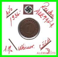 GERMANY  -   MONEDA  DE  1- REICHSPFENNIG  AÑO 1936 D   Bronze - 1 Rentenpfennig & 1 Reichspfennig