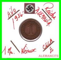 GERMANY  -   MONEDA  DE  1- REICHSPFENNIG  AÑO 1936 E   Bronze - 1 Rentenpfennig & 1 Reichspfennig