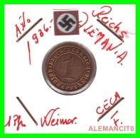 GERMANY  -   MONEDA  DE  1- REICHSPFENNIG  AÑO 1936 F   Bronze - 1 Rentenpfennig & 1 Reichspfennig