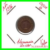 GERMANY  -   MONEDA  DE  1- REICHSPFENNIG  AÑO 1936 G   Bronze - 1 Rentenpfennig & 1 Reichspfennig