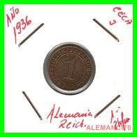GERMANY  -   MONEDA  DE  1- REICHSPFENNIG  AÑO 1936 J   Bronze - 1 Rentenpfennig & 1 Reichspfennig