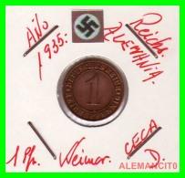 GERMANY  -   MONEDA  DE  1- REICHSPFENNIG  AÑO 1935 D   Bronze - 1 Rentenpfennig & 1 Reichspfennig