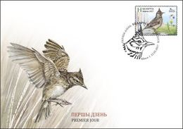 TH Belarus 2017 Bird Of The Year Crested Lark FDC - Birds