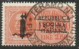 ITALIA REGNO ITALY KINGDOM 1944 RSI ESPRESSI FASCIO EFFIGIE VITTORIO EMANUELE ESPRESSO SPECIAL DELIVERY LIRE 2,50 USATO - 4. 1944-45 Repubblica Sociale