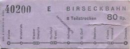 Schweiz - Birseckbahn - Fahrschein 80Rp. - Wochen- U. Monatsausweise