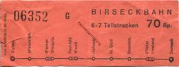 Schweiz - Birseckbahn - Fahrschein 70Rp. - Abonnements Hebdomadaires & Mensuels