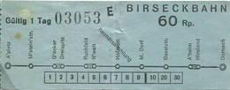 Schweiz - Birseckbahn - Fahrschein 60Rp. - Wochen- U. Monatsausweise