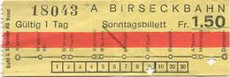 Schweiz - Birseckbahn - Sonntagsbillett - Fahrschein Fr. 1.50 - Europa
