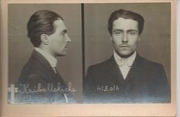 """Photo D'identité Judiciaire Face Profil (two Part Mug Shot) De Victor Kibaltchiche (victor Serge) De La """"bande à Bonnot"""" - Photographie"""