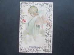AK 1905 Reliefkarte Engel / Fröhliche Weihnachten. Schmetterlinge. Nach Fribourg Schweiz - Engel