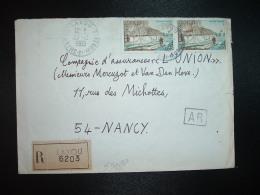 LR TP PAYSAGE VENDEEN 0,95 X2 OBL.27-12-1965 LAXOU (54 MEURTHE ET MOSELLE) GRIFFE LINEAIRE - Poststempel (Briefe)