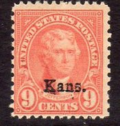 USA 1929 9c Jefferson Kansas Overprint Definitive, Lightly Hinged Mint (SG 664) - Etats-Unis
