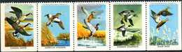 USA. Canards, Ducks, Goose, Oies, Water Birds, Oiseaux. 5 Timbres / Vignettes Strip. National Wildlife Fed.
