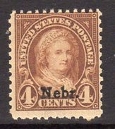 USA 1929 4c Martha Washington Nebraska Overprint Definitive, Lightly Hinged Mint (SG 670) - Etats-Unis