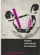 Lausanne Suisse Théatre De Baulieu, Festival International 1966, Pogramme Et Publicités 12 Pages (1966) Pli D'angle - Programmes